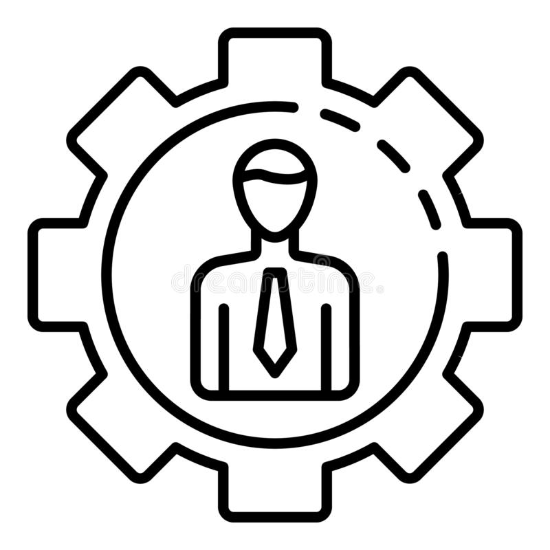 Mężczyzna przekładni korporacyjna ikona, konturu styl royalty ilustracja