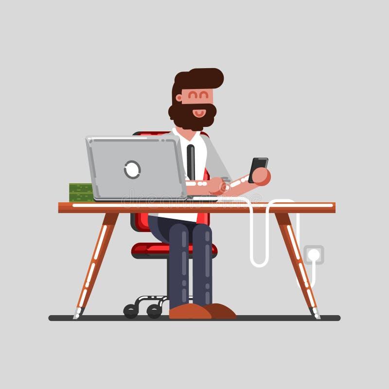 Mężczyzna przerwę na pracie ilustracja wektor
