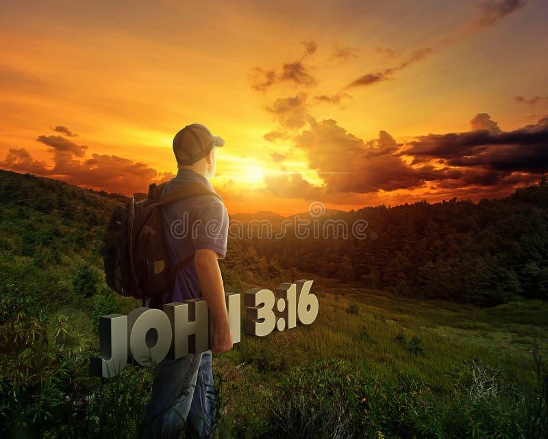 Mężczyzna przewożenia biblii werset obraz royalty free