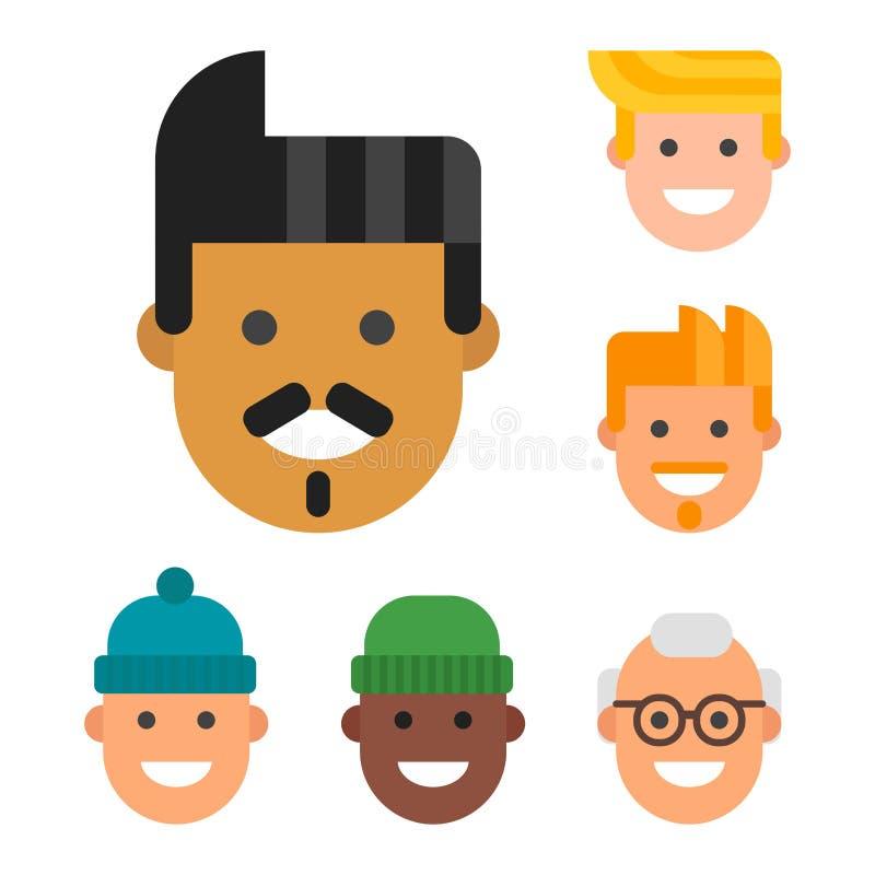 Mężczyzna przewodzą portret narodowości przyjaźni różnego charakteru ilustracja wektor