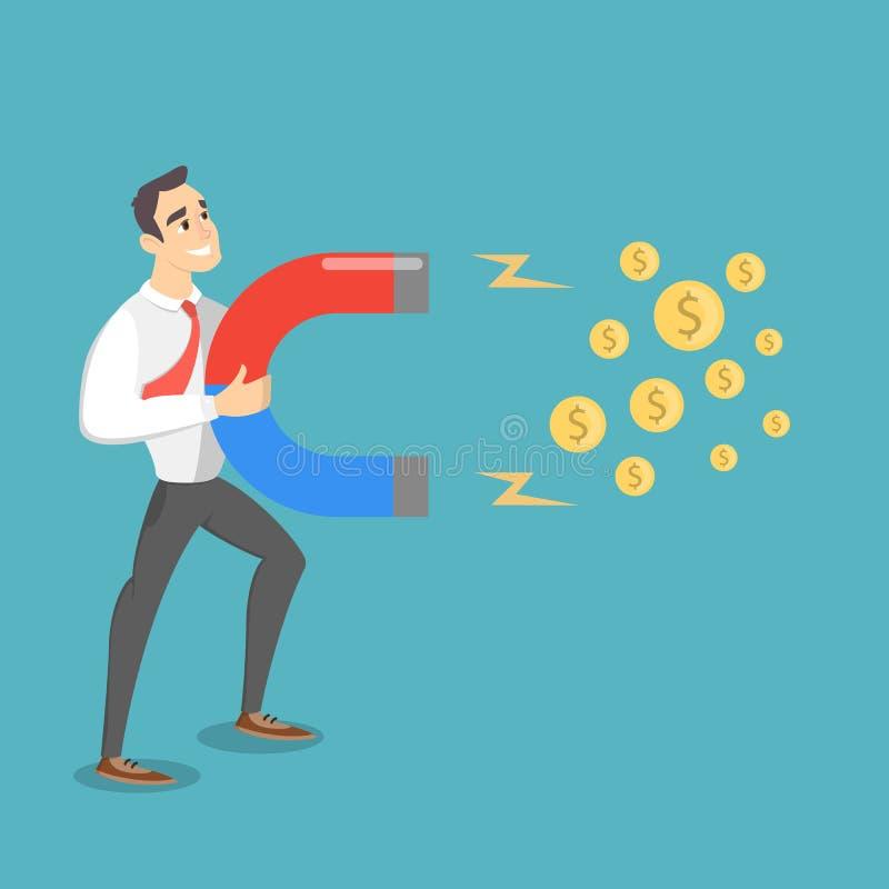 Mężczyzna przyciąga pieniądze ilustracja wektor
