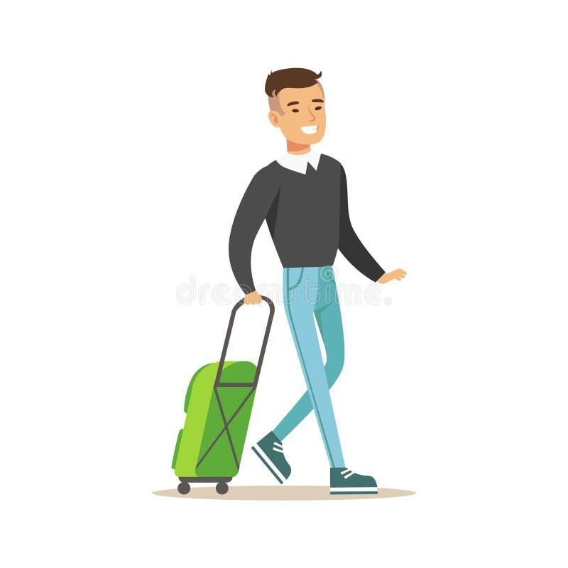Mężczyzna Przyjeżdża Z Zieloną walizką, częścią lotnisko I podróży powietrznych scen Powiązanymi seriami Wektorowe ilustracje, royalty ilustracja