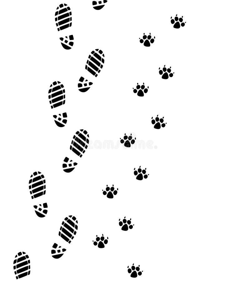 mężczyzna psi nożni druki ilustracji