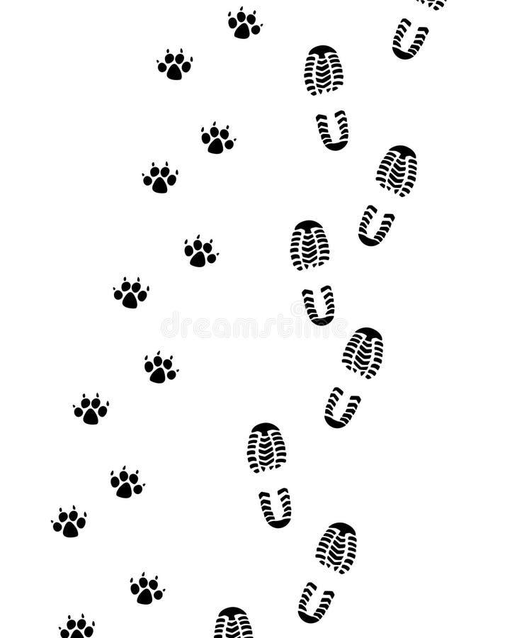 mężczyzna psi nożni druki ilustracja wektor