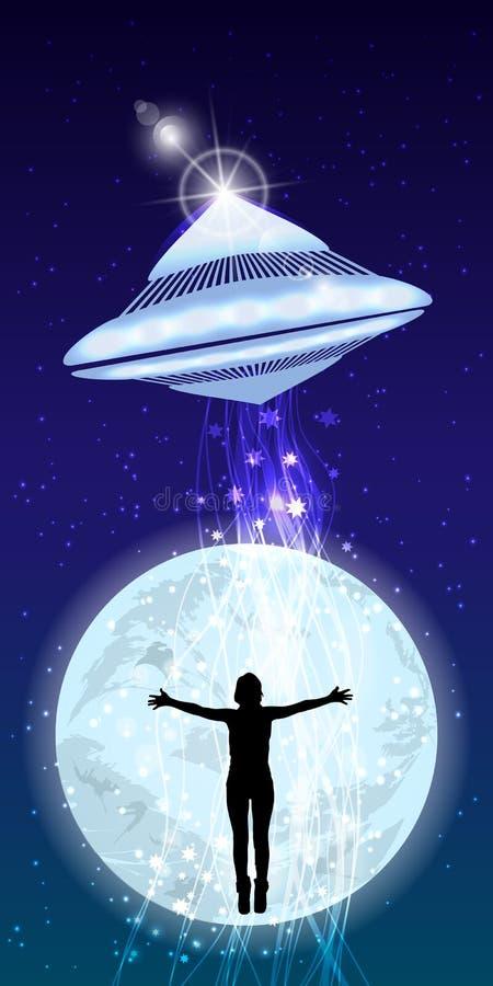 Mężczyzna ręk rozciągliwości UFO uprowadzenia nocne niebo ilustracja wektor