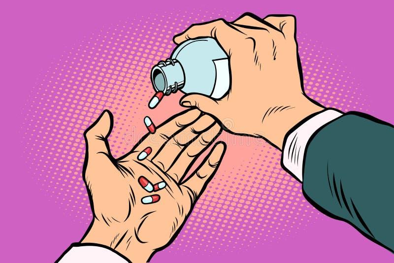 Mężczyzna ręka nalewa za pigułkach ilustracji