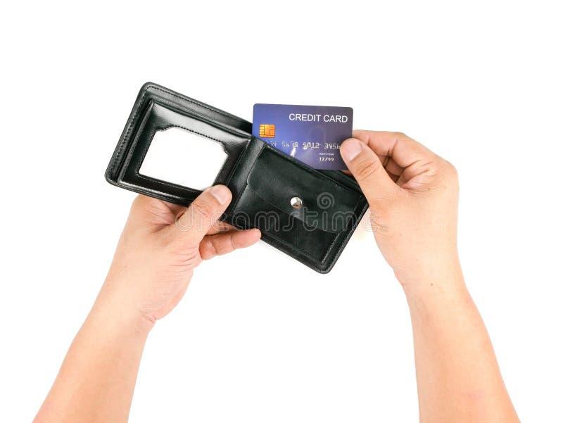 Mężczyzna ręka trzyma kredytową kartę obraz royalty free