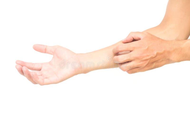 Mężczyzna ręki chrobota ręka na tle, opiece zdrowotnej i mnie białych, obrazy stock