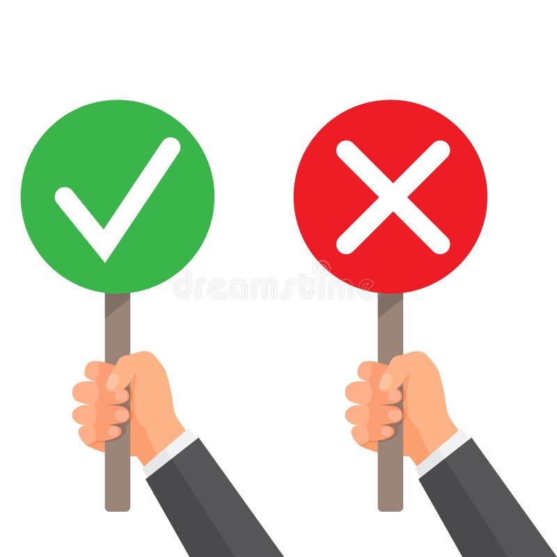 Mężczyzna ręki chwyta signboard zieleni czeka ocena X i czerwień pojęcia prowadzenia domu posiadanie klucza złoty sięgający niebo ilustracja wektor