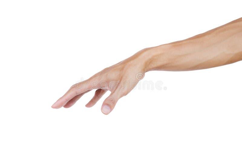 Mężczyzna ręki gest do góry nogami jak mienie coś pusty odosobniony na bielu zdjęcie stock
