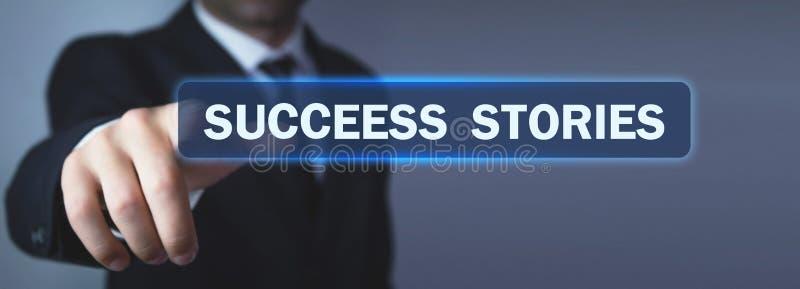 Mężczyzna ręki prasy człowiek sukcesu tekst w ekranie obraz stock