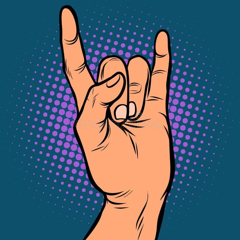 Mężczyzna ręki skały gest ilustracja wektor