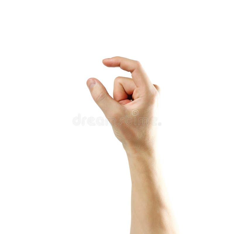 Mężczyzna ręki znak pojedynczy białe tło zdjęcie royalty free