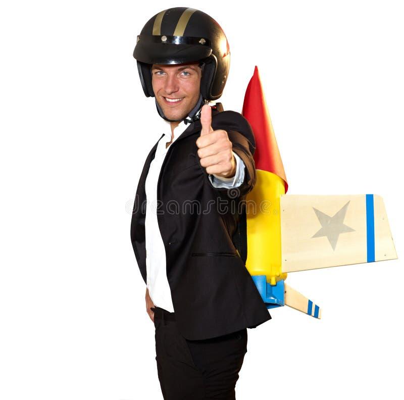 Mężczyzna rakietowy bohater obraz stock