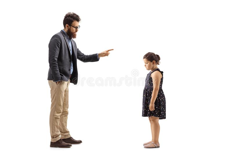 Mężczyzna reprimending troszkę dziewczyny z jego palcem fotografia royalty free