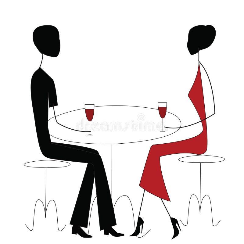 mężczyzna restauraci kobieta ilustracji
