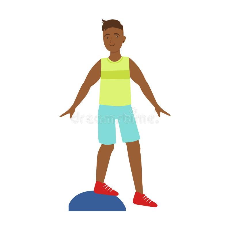 Mężczyzna robi ćwiczeniom na platformie Kolorowy postać z kreskówki royalty ilustracja