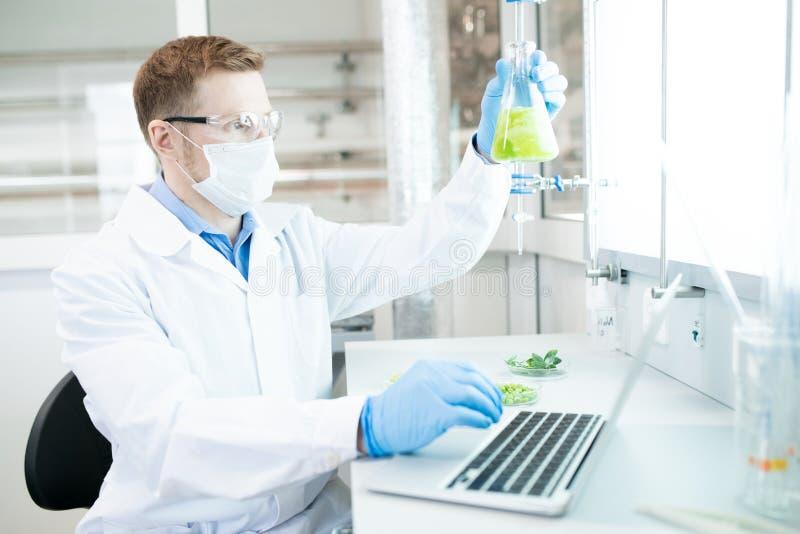 Mężczyzna robi badaniu w laboratorium zdjęcie royalty free
