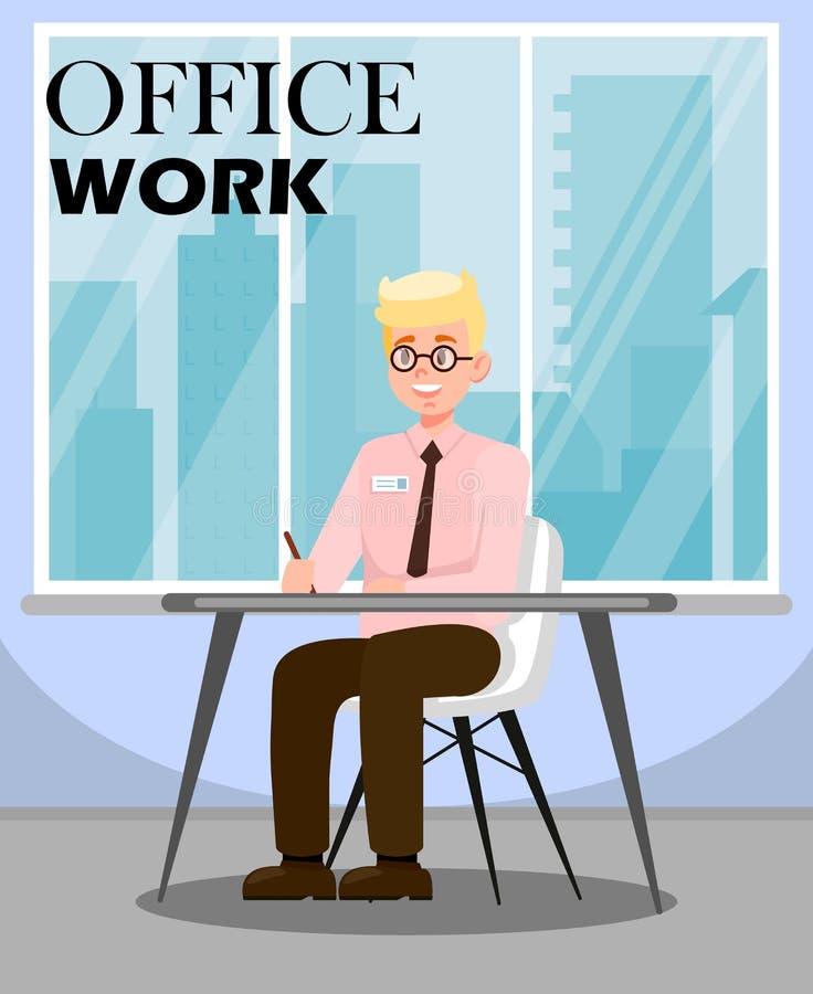 Mężczyzna Robi Biurowej pracy Płaskiej Wektorowej ilustracji ilustracji