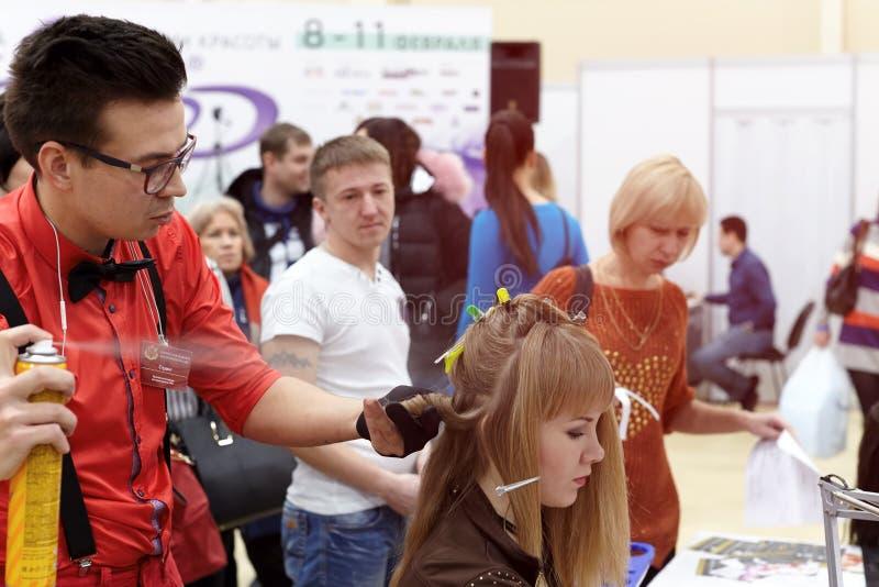 Mężczyzna robi fryzurze dla dziewczyny pokazywać nowych trendy wewnątrz zdjęcia royalty free