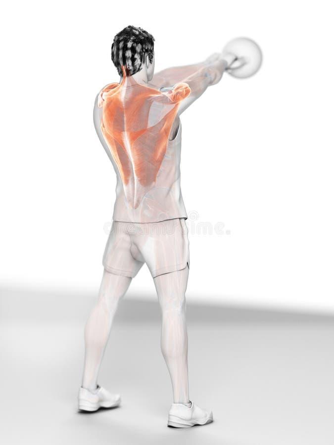 Mężczyzna robi kettlebell treningowi ilustracji