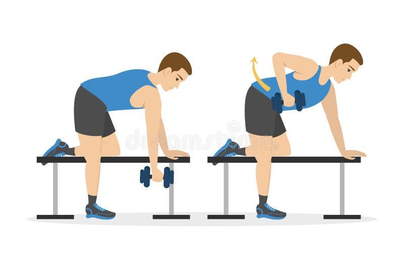 Mężczyzna robi ręka treningowi Pomys? zdrowy i aktywny styl ?ycia royalty ilustracja