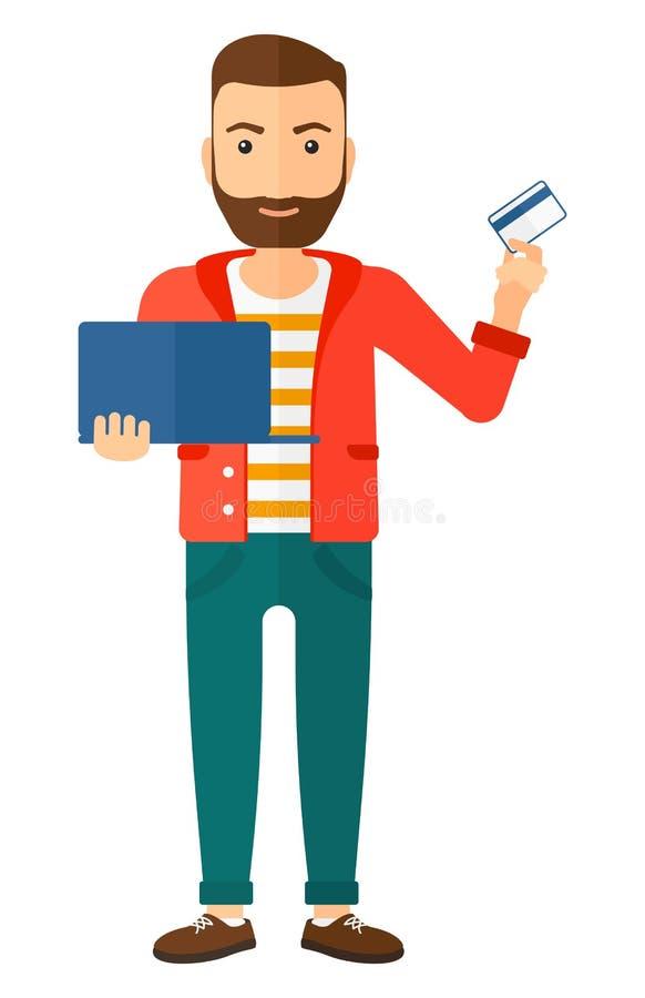 Mężczyzna robi zakupom online ilustracji