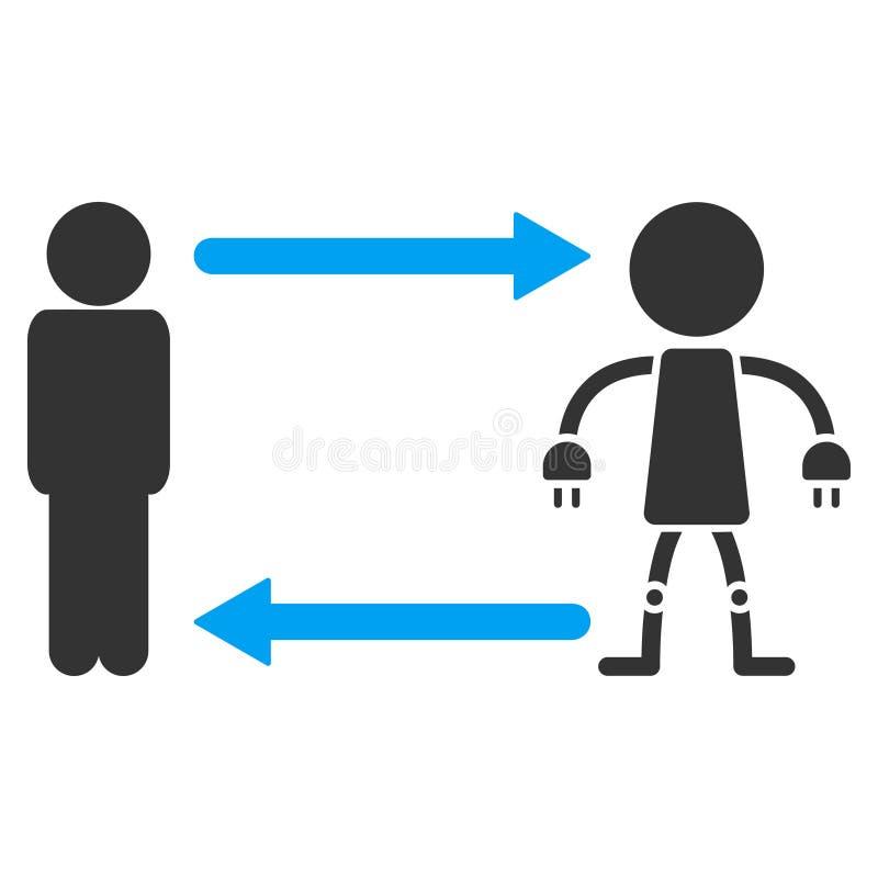Mężczyzna robota wektoru Wekslowa ikona ilustracja wektor