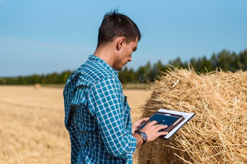 Mężczyzna rolnik używa pastylkę w polu obok haystack fotografia royalty free