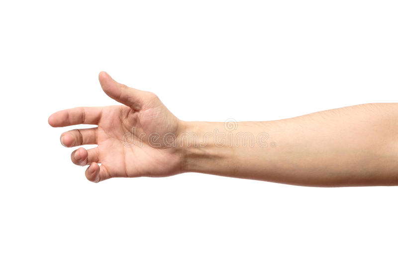 Mężczyzna rozciągania ręka uścisk dłoni odizolowywający fotografia royalty free
