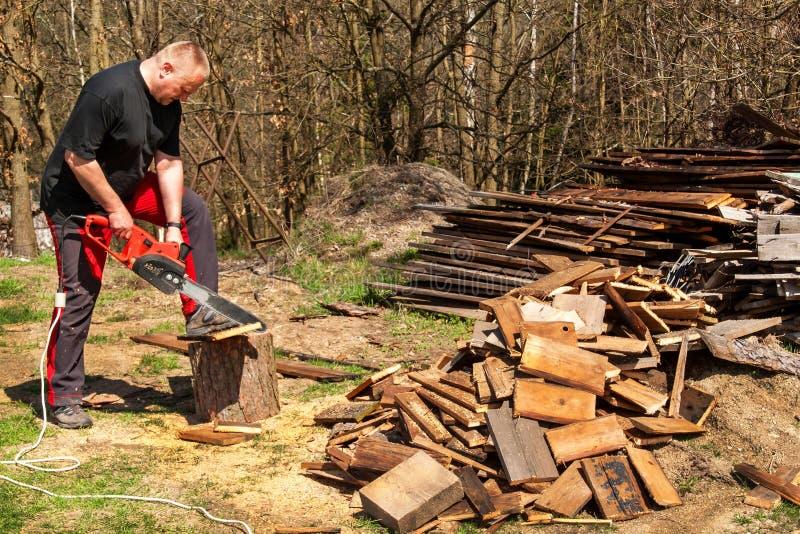 Mężczyzna rozcięcie z elektrycznym łańcuszkowym saw Praca na gospodarstwie rolnym Drewniany przygotowanie dla ogrzewać Woodcutter zdjęcia stock