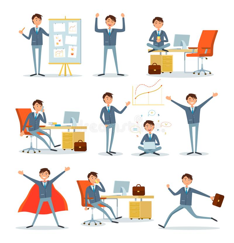 Mężczyzna Ruchliwie z pracą, biznesmenów charaktery przy pracą ilustracji