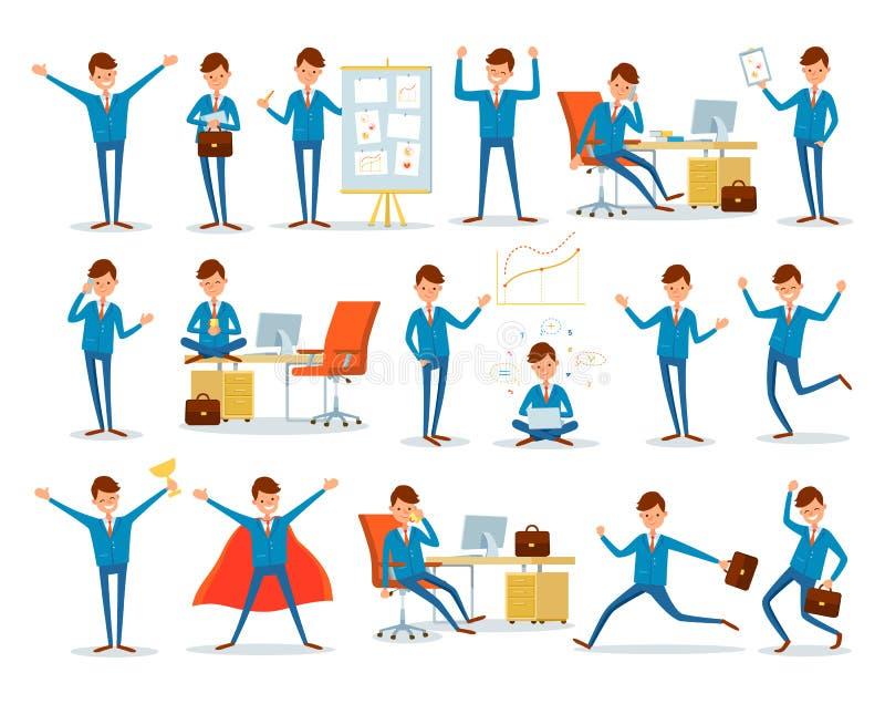Mężczyzna Ruchliwie z pracą, biznesmenów charaktery przy pracą ilustracja wektor