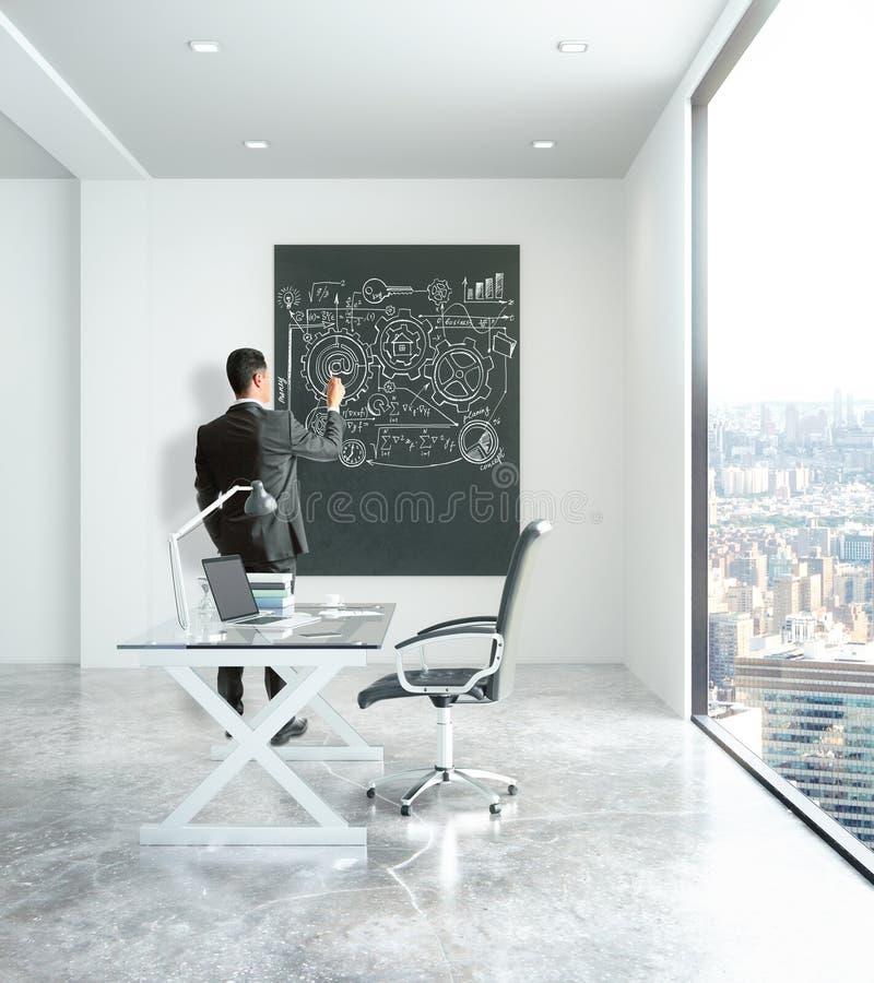 Mężczyzna rysuje biznesową mapę w biurze ilustracji