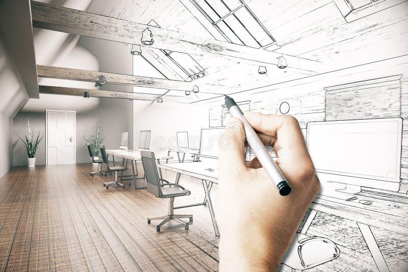 Mężczyzna rysunkowego biura projekt ilustracji