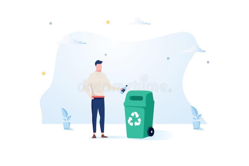 Mężczyzna rzuca plastikową butelkę w kubła na śmieci Pojęcie czułość dla sortować śmieci i środowiska wektor ilustracji