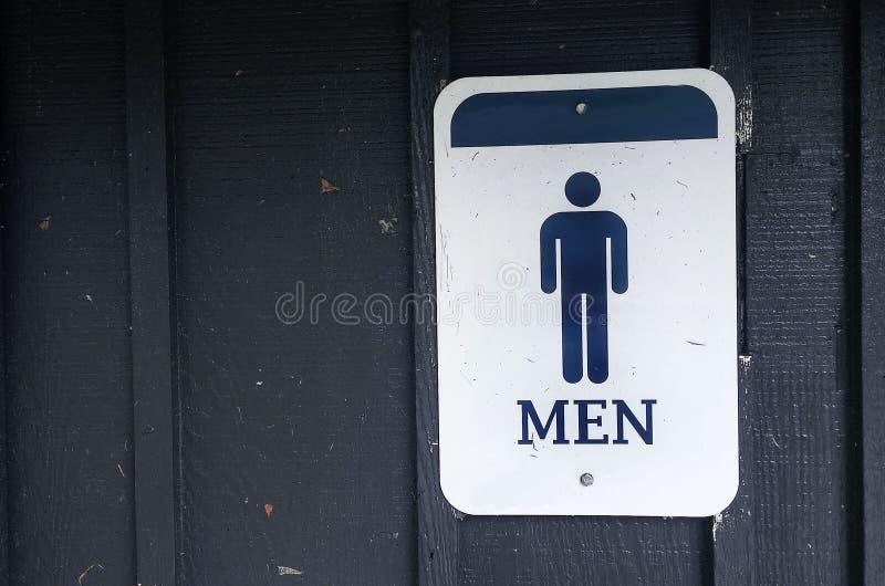 Mężczyzna ` s łazienki metalu znak obraz stock