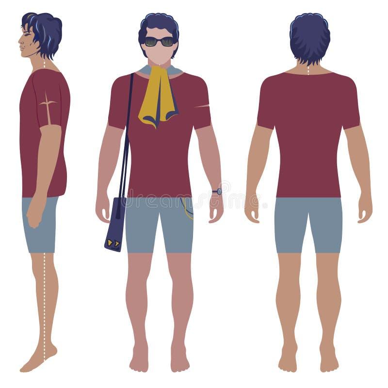 Mężczyzna ` s fryzująca głowiasta sylwetka ilustracji