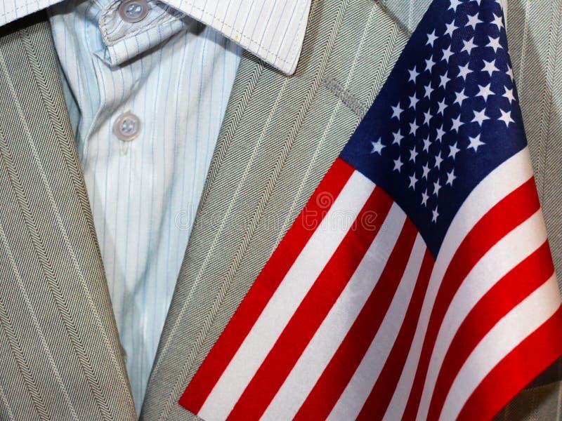 Mężczyzna ` s garnitur i flaga amerykańska zdjęcia royalty free