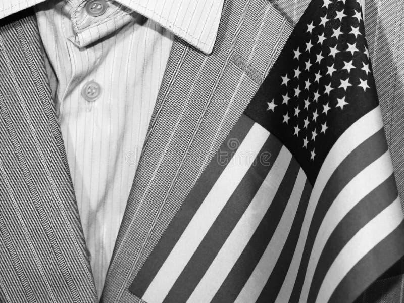 Mężczyzna ` s garnitur i flaga amerykańska zdjęcie royalty free