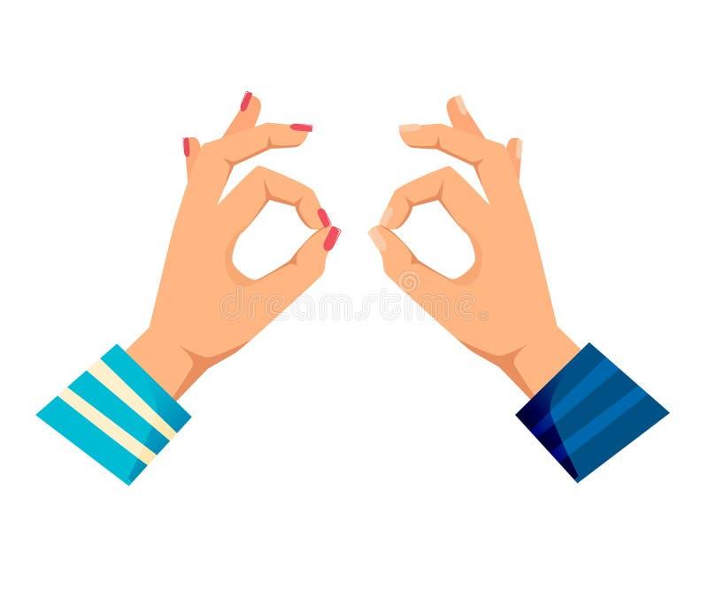 Mężczyzna ` s i kobiet s ręki z gestami Kontrola, calmness, royalty ilustracja