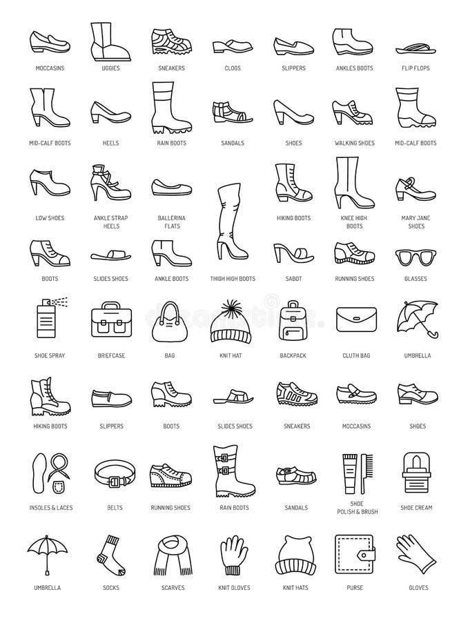 Mężczyzna ` s, kobiety ` s akcesoria i buty & Wektor ikony kreskowy collecti ilustracja wektor