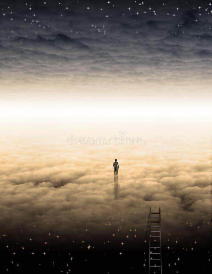 Mężczyzna ` s podróż dusza ilustracja wektor