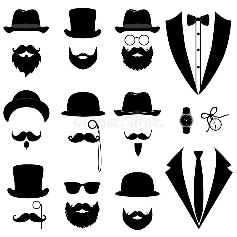 Mężczyzna ` s smoking Wąsy, szkieł, brody, fajczanego i odgórnego kapelusz, ilustracja wektor