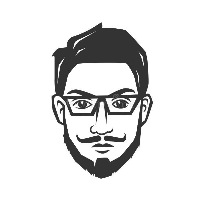 Mężczyzna ` s twarz z brodą royalty ilustracja