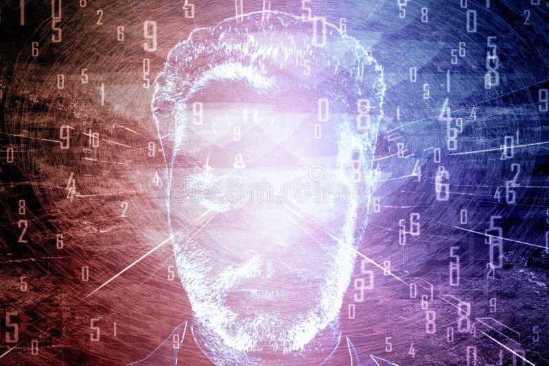 Mężczyzna ` s twarz z różowymi cyframi obraz stock