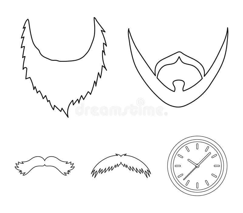 Mężczyzna ` s wąsy i broda Brod ustalone inkasowe ikony w konturu stylu wektorowym symbolu zaopatrują ilustracyjną sieć royalty ilustracja