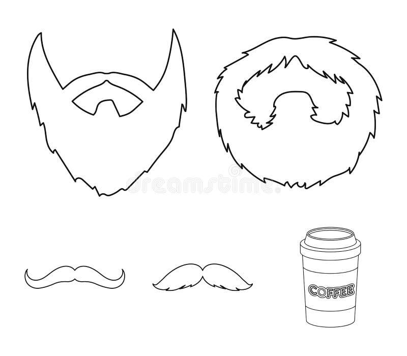 Mężczyzna ` s wąsy i broda Brod ustalone inkasowe ikony w konturu stylu wektorowym symbolu zaopatrują ilustracyjną sieć ilustracji