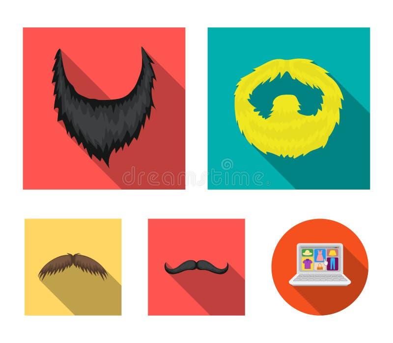 Mężczyzna ` s wąsy i broda Brod ustalone inkasowe ikony w mieszkanie stylu wektorowym symbolu zaopatrują ilustracyjną sieć ilustracji