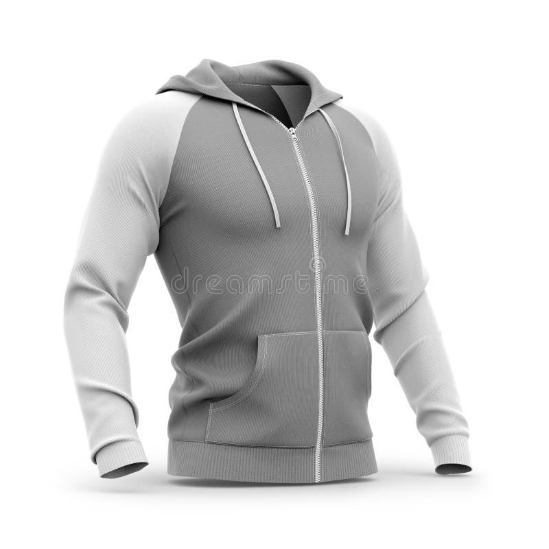 Mężczyzna ` s zamka błyskawicznego kapturzasta bluza sportowa ilustracja wektor